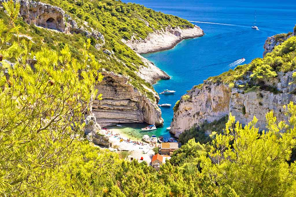Stiniva beach (bay) on island Vis, Croatia